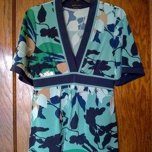 BCBGMaxAzria Blue/Green Botanical Print Tunic Top